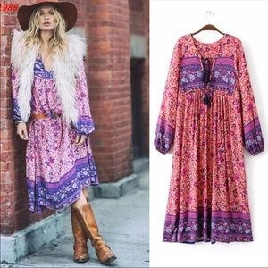 Folk Town Boho Floral Print Maxi Dress